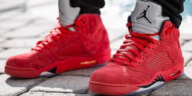 """3a05fadf2c8997 SP Sole Shouts  The Nike Air Jordan  5  V """"Red Suede"""" On Feet – TIP ..."""