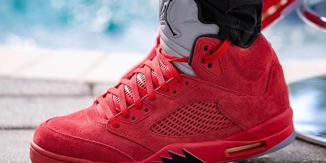 """SP Sole Shouts  The Nike Air Jordan  5  V """"Red Suede"""" On Feet – TIP ... 61e3b10cf4"""