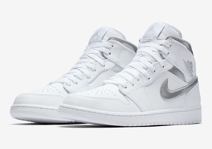 cb6f01011f91d4 Metallic Silver Accents On This All-White Air Jordan 1 Mid